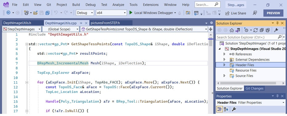 Editing C++ code of 3D machine learning project in Visual Studio